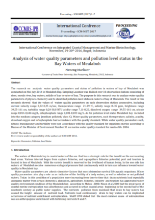 Analysis of water quality parameters and pollution level status in the Bay Waters of Meulaboh