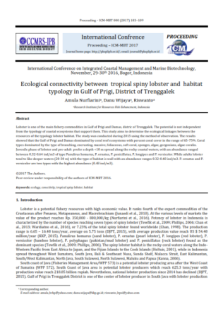 Ecological connectivity between  tropical spiny lobster and  habitat typology in Gulf of Prigi, Dist