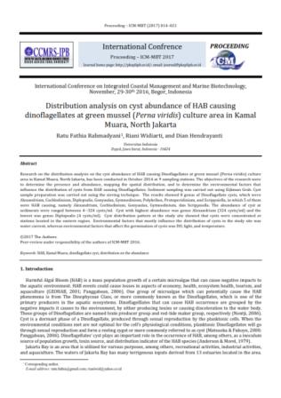 Distribution analysis on cyst abundance of HAB causing dinoflagellates at green mussel (Perna viridi