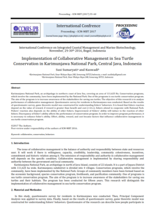 Implementation of Collaborative Management in Sea Turtle Conservation in Karimunjawa National Park,
