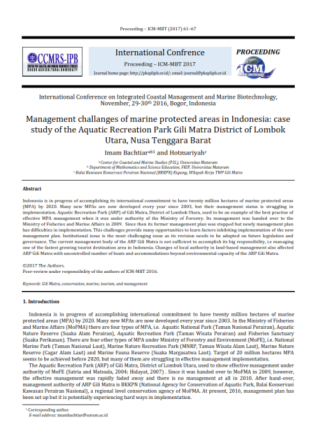 Management challanges of marine protected areas in Indonesia: case study of the Aquatic Recreation P