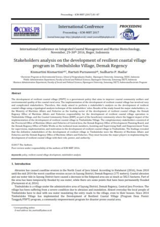 Stakeholders analysis on the development of resilient coastal village program in Timbulsloko Village