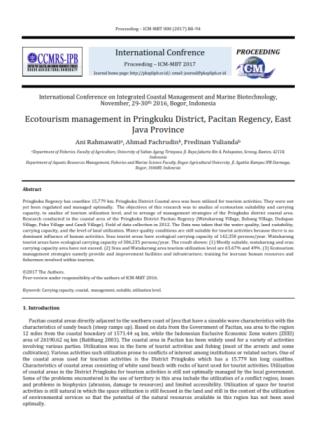 Ecotourism management in Pringkuku District, Pacitan Regency, East Java Province