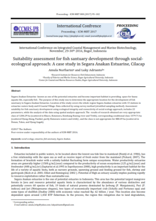 Suitability assessment for fish santuary development through socialecologycal approach: A case study