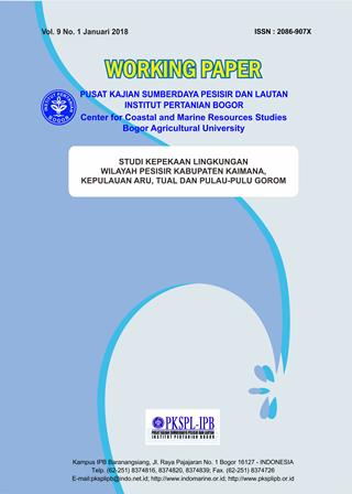 Studi Kepekaan Lingkungan  Wilayah Pesisir Kabupaten Kaimana, Kepulauan Aru, Tual dan Pulau-Pulau Go
