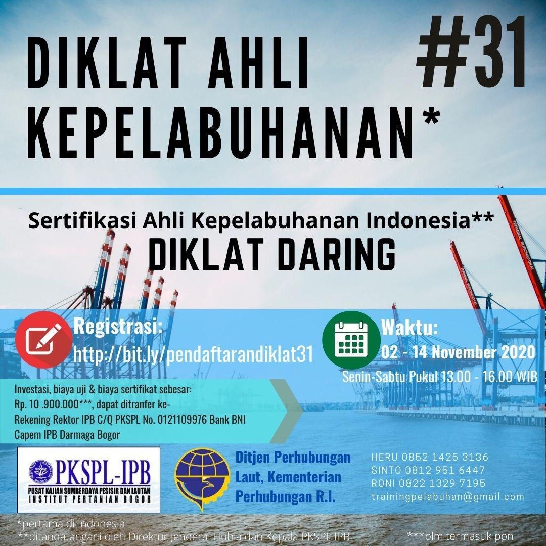 Diklat Daring Ahli Kepelabuhan Indonesia Ke-31