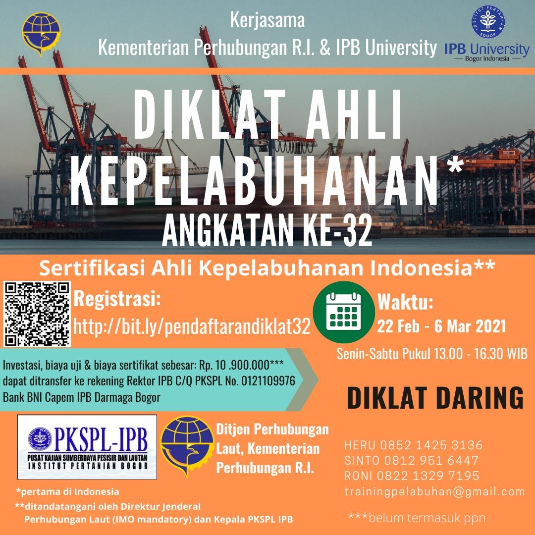 Diklat Daring Ahli Kepelabuhan Indonesia Ke-32